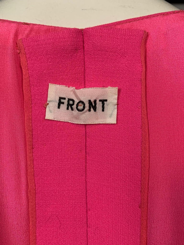Norman Norell 1960's Classic Hot Pink Wool Crepe Evening Dress with Empire Waist For Sale 5