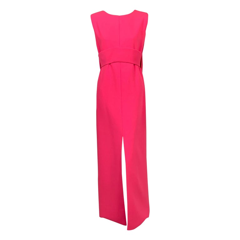 Norman Norell 1960's Classic Hot Pink Wool Crepe Evening Dress with Empire Waist For Sale