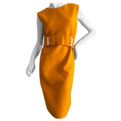 Norman Norell 1960's Sleeveless Orange Shift Dress with Attached Belt
