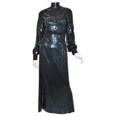 Norman Norell 1970's Sequin-Embellished Mermaid Dress RARE