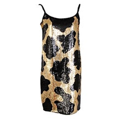 Norman Norell Black and Gold Sequin Evening Dress, Runway Worn