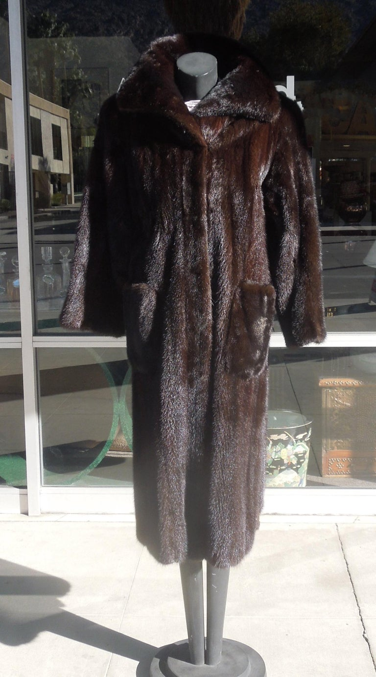 This amazing mink was designed by the legendary Norman Norell. Of course he used Blackglama mink, but what stands out is the Classic, chic design. Chic patch pockets and a lovely Classic collar that looks amazing turned up. From a vintage Chicago