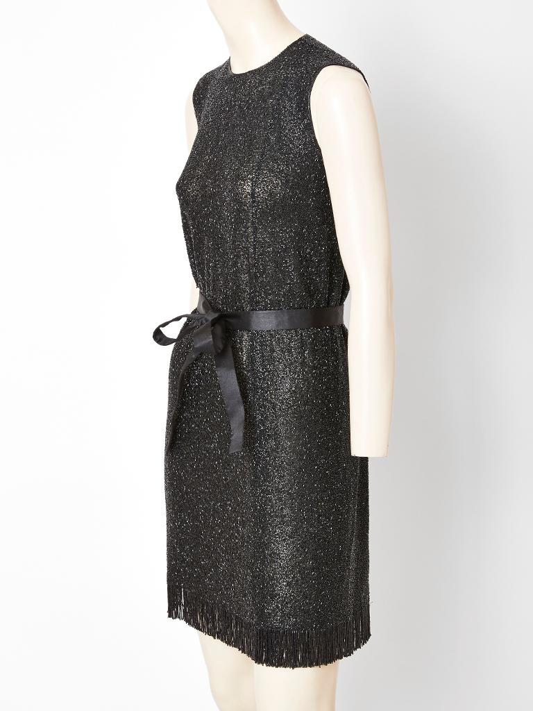 Black Norman Norell Bugle Beaded Sheath with Satin Belt For Sale
