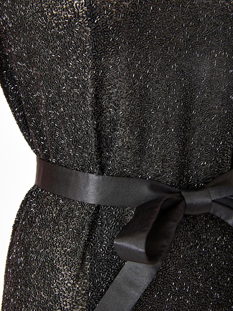 Norman Norell Bugle Beaded Sheath with Satin Belt In Good Condition For Sale In New York, NY