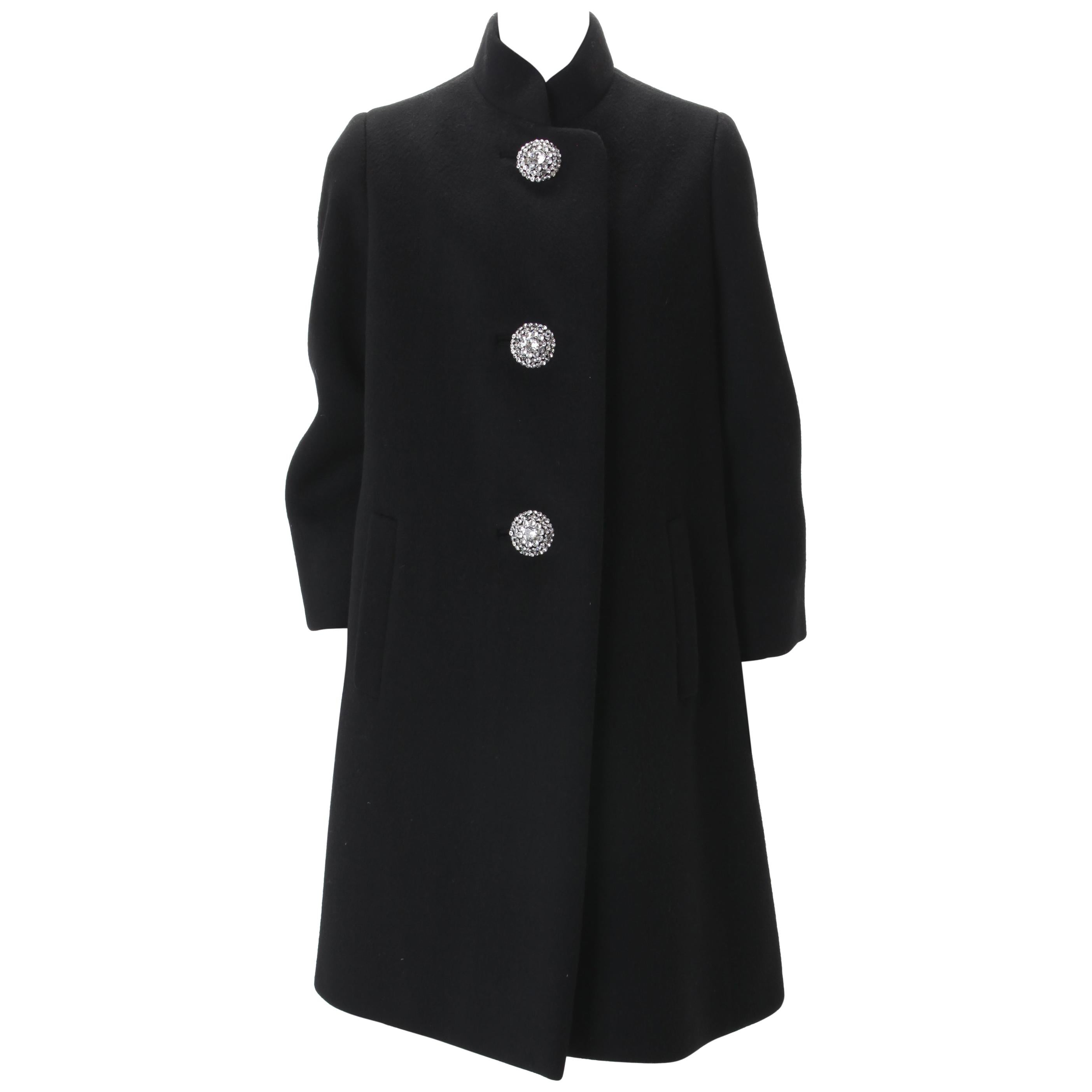 Norman Norell Couture Black Wool Coat with Rhinestone Encrusted Buttons, c.1960s