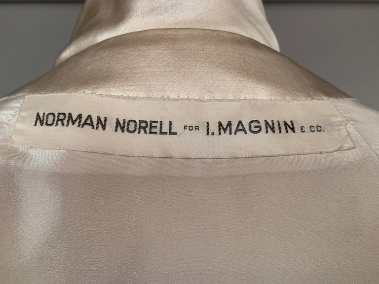 Norman Norell Elegant Cream Satin Evening Dress or Coat Dress Never Worn  For Sale 6