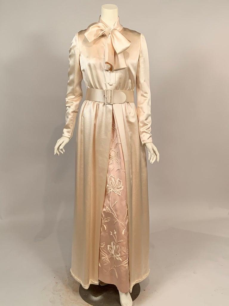 Norman Norell Elegant Cream Satin Evening Dress or Coat Dress Never Worn  For Sale 9