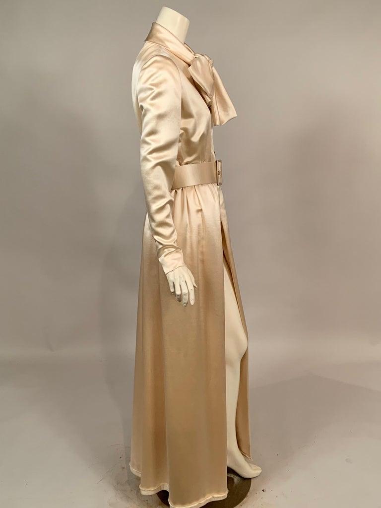 Brown Norman Norell Elegant Cream Satin Evening Dress or Coat Dress Never Worn  For Sale