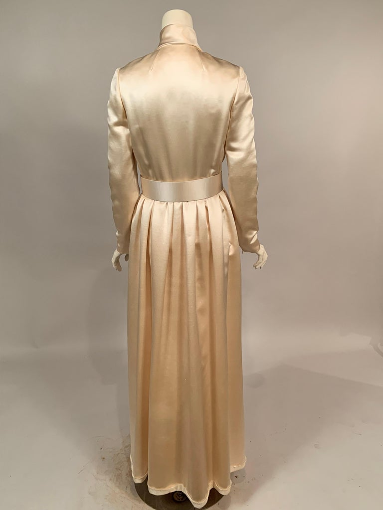 Norman Norell Elegant Cream Satin Evening Dress or Coat Dress Never Worn  In Excellent Condition For Sale In New Hope, PA