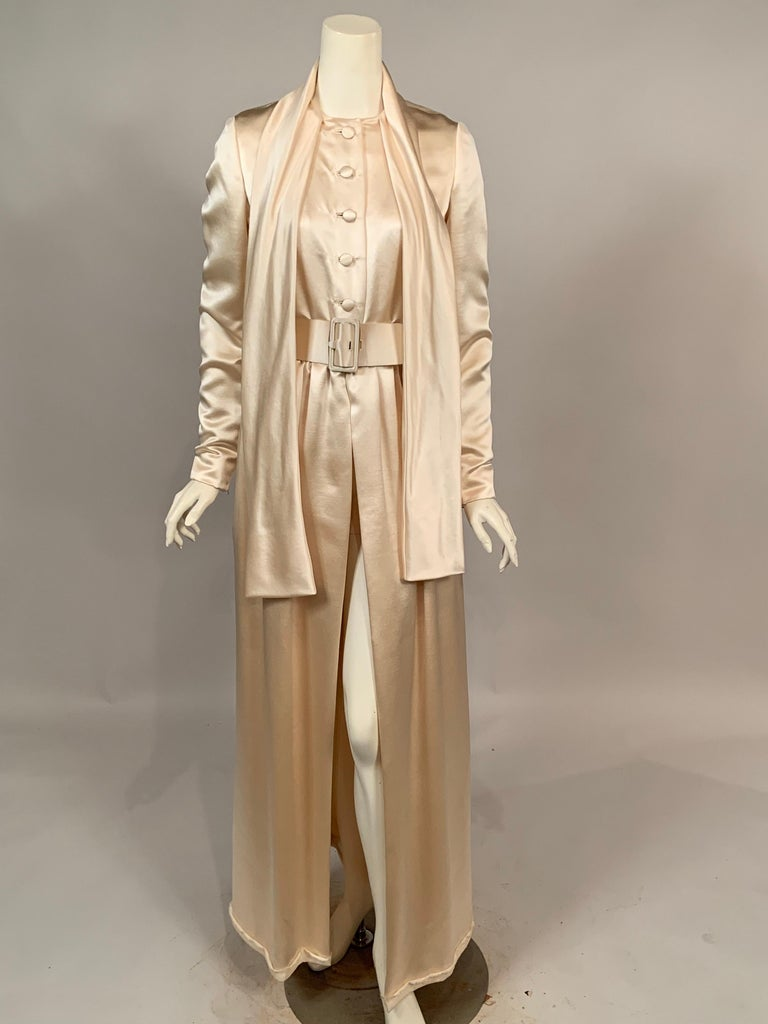 Women's Norman Norell Elegant Cream Satin Evening Dress or Coat Dress Never Worn  For Sale