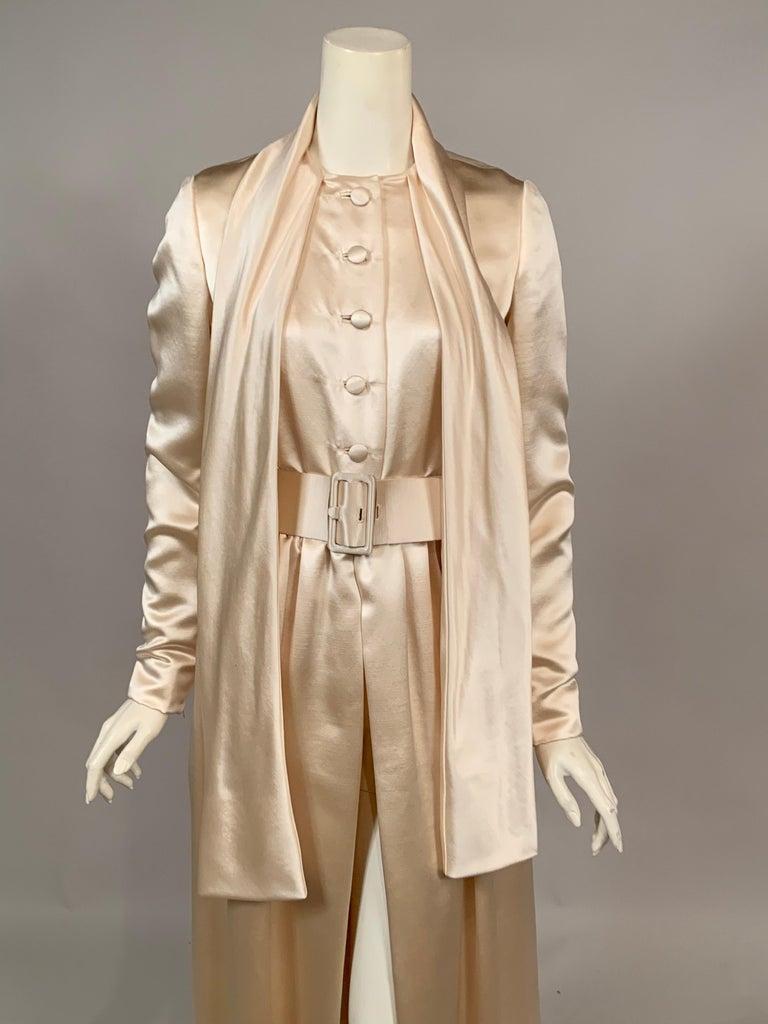 Norman Norell Elegant Cream Satin Evening Dress or Coat Dress Never Worn  For Sale 1