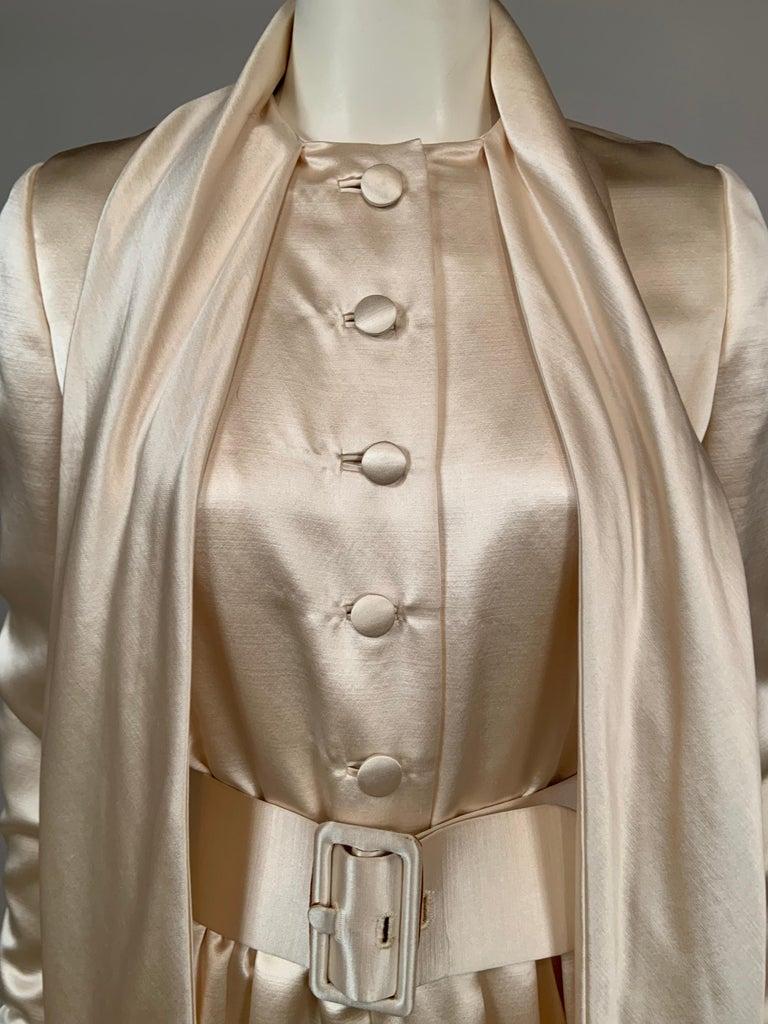 Norman Norell Elegant Cream Satin Evening Dress or Coat Dress Never Worn  For Sale 2