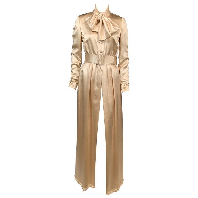 Norman Norell Elegant Cream Satin Evening Dress or Coat Dress Never Worn  For Sale