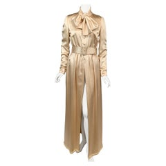 Norman Norell Elegant Cream Satin Evening Dress or Coat Dress with Pussy Cat Bow