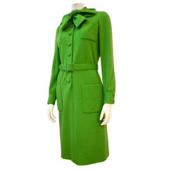 Norman Norell for Bonwit Teller  60s Apple Green Knit Day Dress