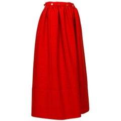 Norman Norell Heavyweight Red Gathered Hostess Skirt - Small, 1960s