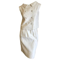 Norman Norell Ivory Linen 1960's Sleeveless Double Breasted Skirt Suit