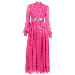 Norman Norell Pink Silk Vintage Dress W Silver & Clear Sequins & Sheer Sleeves