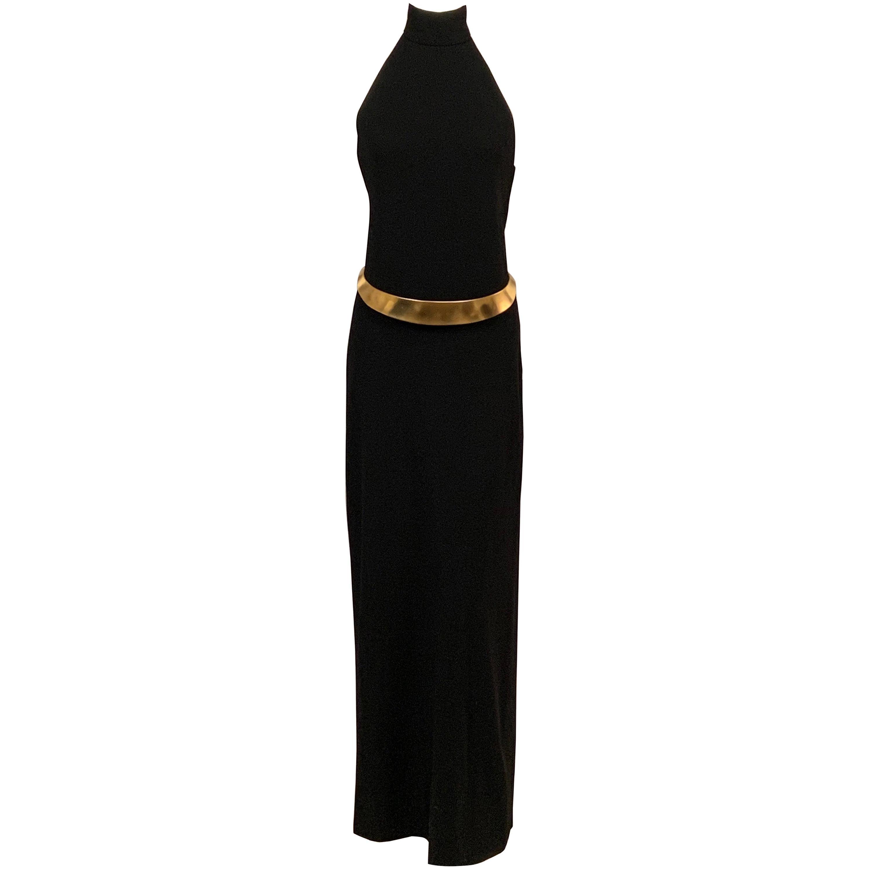 Norman Norell Sleek Black Wool Crepe Backless Halter Gown ex Model Denise 1970