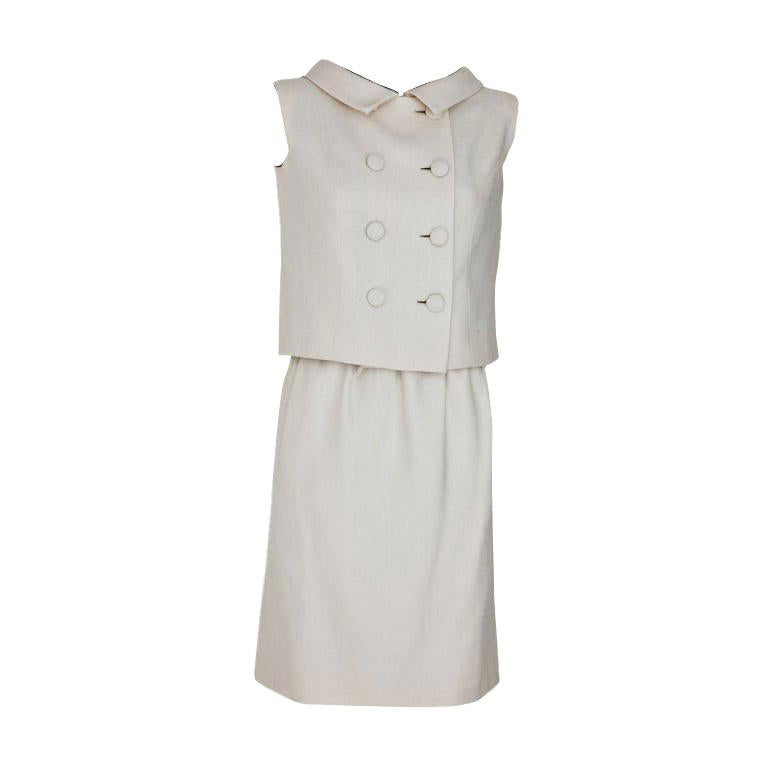 Norman Norrel Ivory Moygashel Linen 2 piece Day Ensemble For Sale