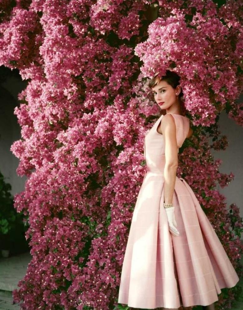 Audrey Hepburn Flowers - the movie star and icon dressed in pink haute couture