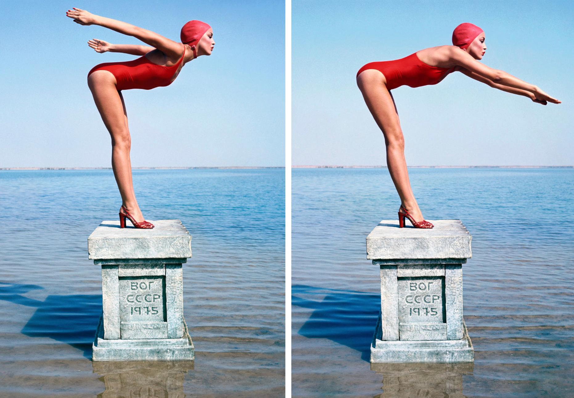 Jerry Hall, Diptych, Russia, Vogue 1975