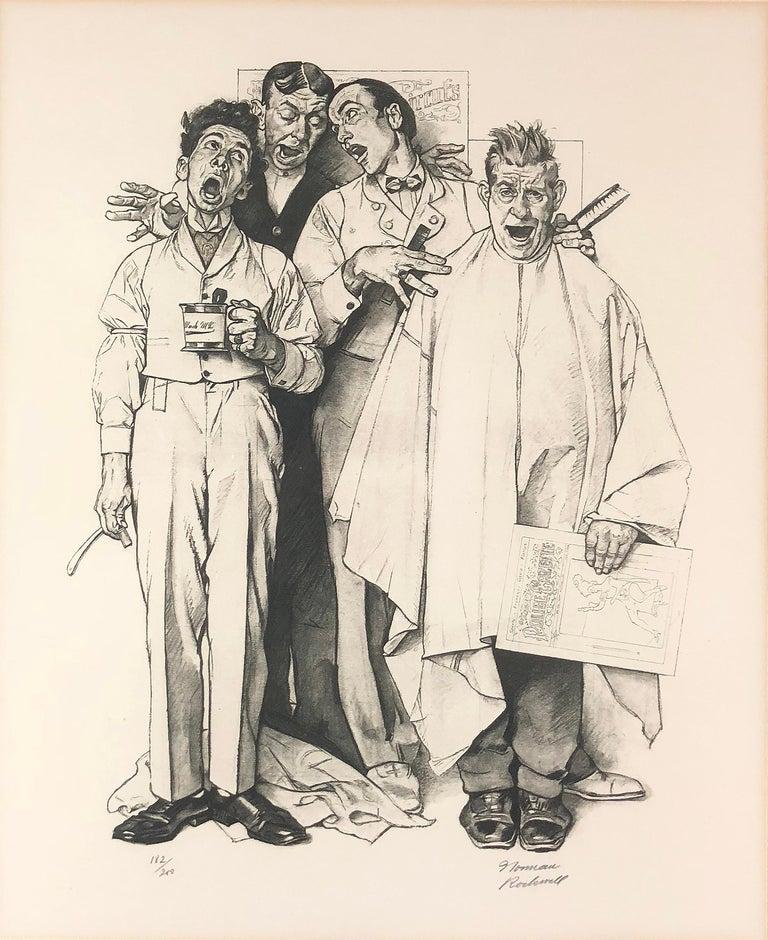 After Norman Rockwell Figurative Print - Berbershop Quartet