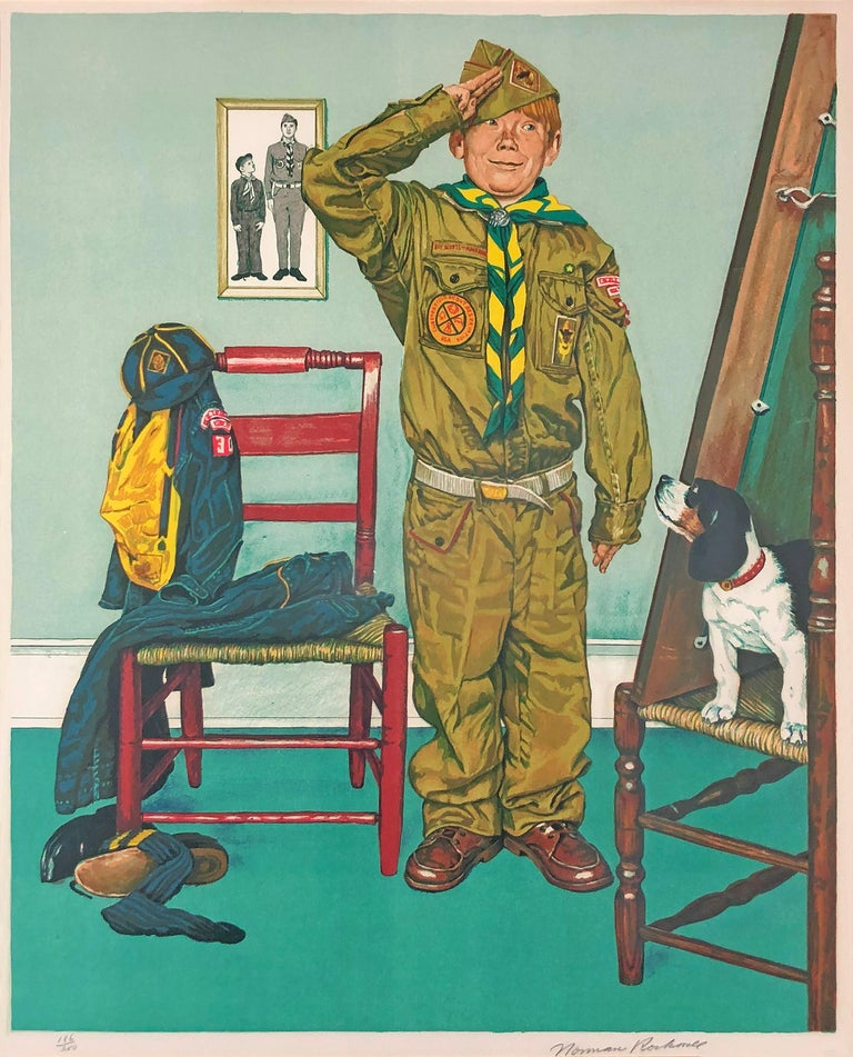 After Norman Rockwell Figurative Print - Can't Wait