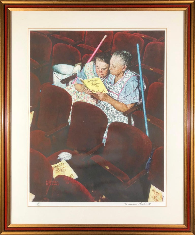 Charwomen in Theater - Print by After Norman Rockwell