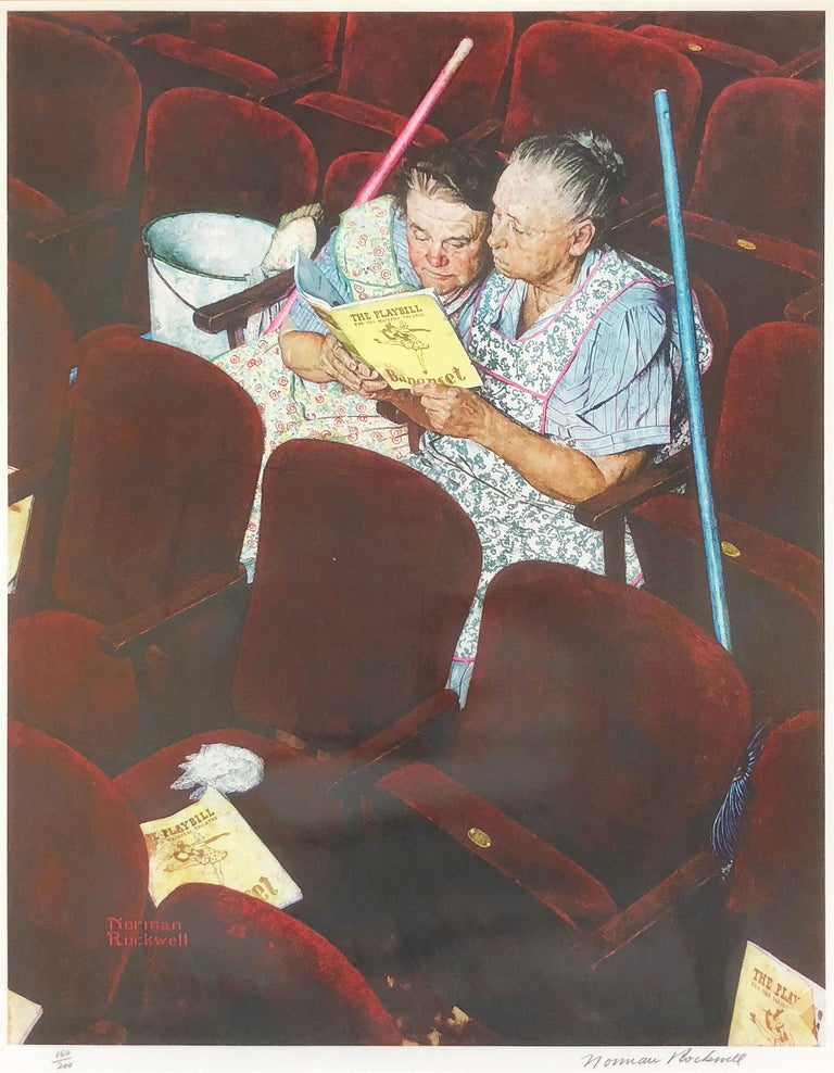 After Norman Rockwell Figurative Print - Charwomen in Theater
