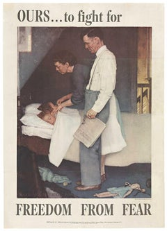 Freedom From Fear original 1943 Four Freedoms vintage poster