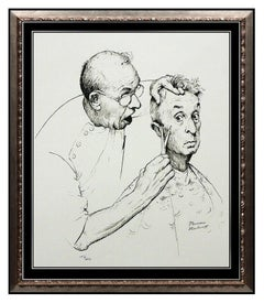 NORMAN ROCKWELL At The Barber Lithograph HAND SIGNED Original Illustration Art