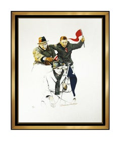 Norman Rockwell Cheering Hand Signed Lithograph School Days Portrait Artwork SBO