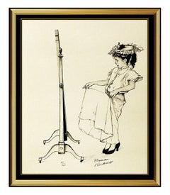 Norman Rockwell Dressing Up Lithograph Hand Signed Original Illustration Artwork