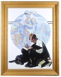 """Norman Rockwell """"Land of Enchantment"""" TruChrome LE Print 43 x 34 Framed w/ CoA"""