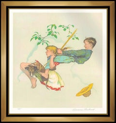 Norman Rockwell Original Color Lithograph Hand Signed The Swing Children Artwork