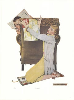 """NORMAN ROCKWELL The Decorator 27"""" x 20"""" Offset Lithograph Multicolor, Brown, Red"""