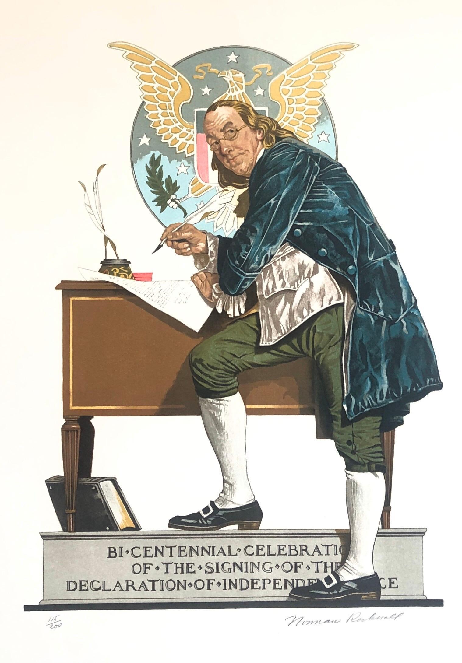 Original Lithograph Benjamin Franklin, Declaration of Independence Americana Art