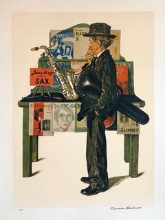 Original Lithograph Jazz It Up with a Sax, Musician, Hand Signed Americana Art