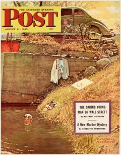 Original Vintage Poster For The Saturday Evening Post Swimming Hole Cover Art