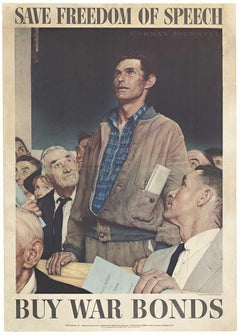 Save Freedom of Speech original 1943 Four Freedoms vintage poster
