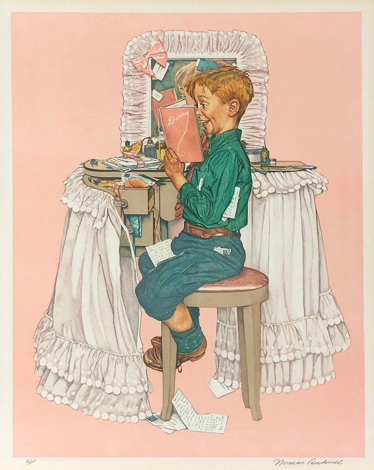 After Norman Rockwell Figurative Print - After the Painting of Secrets (Sister's Diary)
