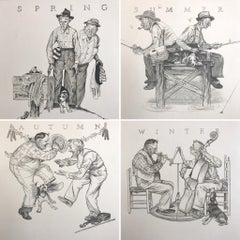 THE FOUR SEASONS, 4 Hand Drawn Lithographs, American Illustration Art, Americana