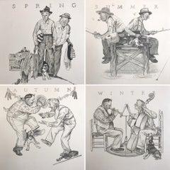 THE FOUR SEASONS, 4 Hand Drawn Lithographs, American Illustration Art, Americana