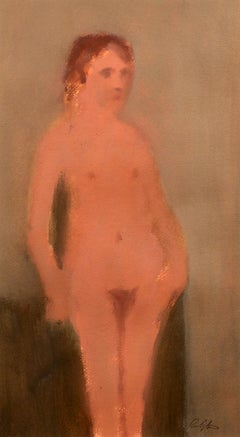 """Quiet Nude,"" Norman Rubington, oil on paper, modernism, ca 1960-70, figurative"