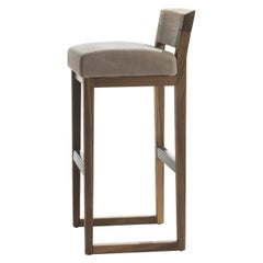 Norman Stool in Solid Walnut Wood with Leather Seat