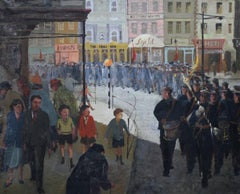Marching Band Great Yarmouth - British 50's art Impressionist music oil painting