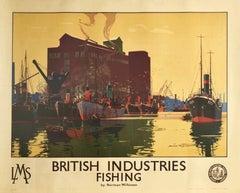 Original Vintage Poster British Industries Fishing Harbour LMS Railway Travel