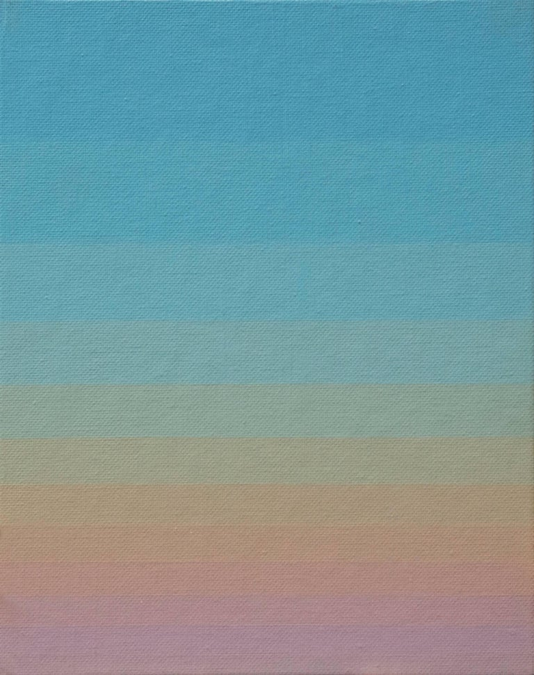 PBZ 1, small acrylic painting with color gradient from blue to red