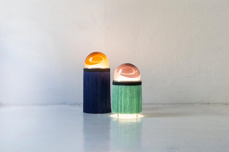 Italian Normanna Large Lamp in Murano Glass and Tripolino Fringes by VI+M Studio For Sale
